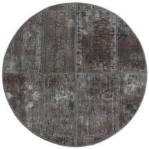 Patchwork - Persien/Iran Matto Ø 100 Moderni Käsinsolmittu Pyöreä Tummanharmaa/Musta (Villa, Persia/Iran)