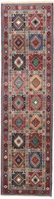 Yalameh Matto 82X299 Itämainen Käsinsolmittu Käytävämatto Musta/Tummanpunainen (Villa, Persia/Iran)
