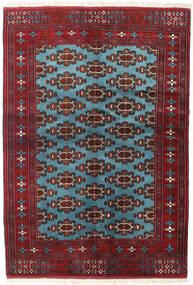 Turkaman Matto 133X190 Itämainen Käsinsolmittu Tummanpunainen/Sininen (Villa, Persia/Iran)