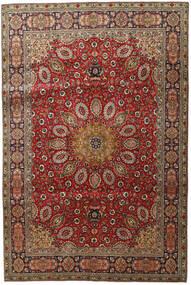 Tabriz Matto 202X304 Itämainen Käsinsolmittu Tummanruskea/Tummanpunainen (Villa, Persia/Iran)