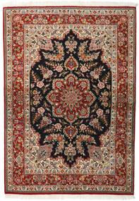 Ghom Kork/Silkki Matto 143X203 Itämainen Käsinsolmittu Tummanruskea/Vaaleanruskea (Villa/Silkki, Persia/Iran)