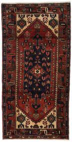 Hamadan Matto 98X195 Itämainen Käsinsolmittu Tummanruskea/Tummanpunainen (Villa, Persia/Iran)