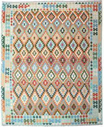 Kelim Afghan Old Style Matto 249X305 Itämainen Käsinkudottu Oranssi/Siniturkoosi (Villa, Afganistan)