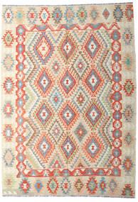 Kelim Afghan Old Style Matto 202X287 Itämainen Käsinkudottu Tummanbeige/Beige (Villa, Afganistan)
