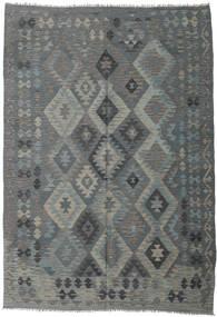 Kelim Afghan Old Style Matto 203X289 Itämainen Käsinkudottu Tummanvihreä/Vihreä/Vaaleanharmaa (Villa, Afganistan)