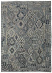 Kelim Afghan Old Style Matto 209X290 Itämainen Käsinkudottu Vaaleanharmaa/Vihreä (Villa, Afganistan)