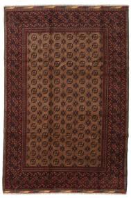 Afghan Matto 201X294 Itämainen Käsinsolmittu Tummanpunainen/Ruskea (Villa, Afganistan)