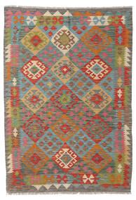 Kelim Afghan Old Style Matto 123X176 Itämainen Käsinkudottu Tummanharmaa/Tummanpunainen (Villa, Afganistan)