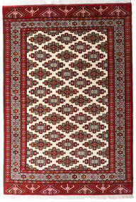 Turkaman Matto 140X203 Itämainen Käsinsolmittu Tummanpunainen/Beige (Villa, Persia/Iran)