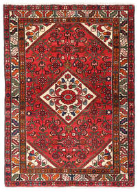 Hosseinabad Matto 101X142 Itämainen Käsinsolmittu Tummanpunainen/Tummanruskea (Villa, Persia/Iran)