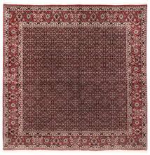Bidjar Silkillä Matto 202X206 Itämainen Käsinsolmittu Neliö Tummanpunainen/Tummanruskea (Villa/Silkki, Persia/Iran)