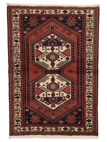 Hamadan Matto 98X143 Itämainen Käsinsolmittu Tummanruskea/Tummanpunainen (Villa, Persia/Iran)