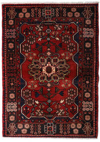 Hamadan Matto 113X158 Itämainen Käsinsolmittu Tummanruskea/Tummanpunainen (Villa, Persia/Iran)