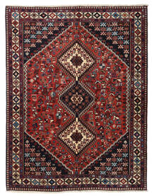 Yalameh Matto 153X198 Itämainen Käsinsolmittu Tummanpunainen/Tummanharmaa (Villa, Persia/Iran)