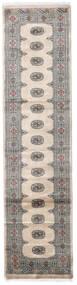 Pakistan Bokhara 3Ply Matto 79X315 Itämainen Käsinsolmittu Käytävämatto Vaaleanharmaa/Tummanharmaa (Villa, Pakistan)