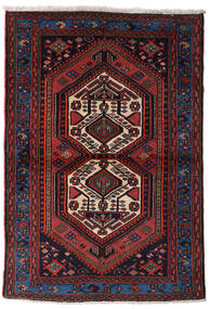 Hamadan Matto 102X148 Itämainen Käsinsolmittu Tummanruskea/Tummanpunainen (Villa, Persia/Iran)