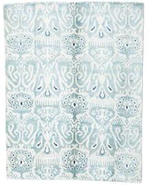 Sari 100% Silkki Matto 153X200 Moderni Käsinsolmittu Valkoinen/Creme/Vaaleansininen (Silkki, Intia)