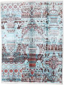 Sari 100% Silkki Matto 275X363 Moderni Käsinsolmittu Vaaleansininen/Tummanharmaa Isot (Silkki, Intia)