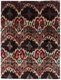 Sari 100% Silkki Matto 275X363 Moderni Käsinsolmittu Tummanruskea/Tummanpunainen Isot (Silkki, Intia)