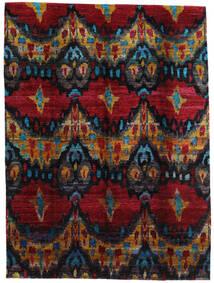 Sari 100% Silkki Matto 279X374 Moderni Käsinsolmittu Tummanruskea/Tummanpunainen Isot (Silkki, Intia)
