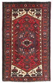 Hamadan Matto 75X125 Itämainen Käsinsolmittu Tummanpunainen/Musta (Villa, Persia/Iran)
