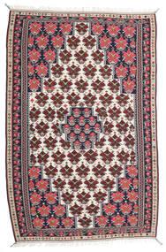 Kelim Senneh Matto 150X220 Itämainen Käsinkudottu Tummanvioletti/Vaaleanharmaa (Villa, Persia/Iran)