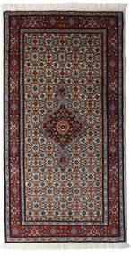Moud Matto 75X150 Itämainen Käsinsolmittu Käytävämatto Vaaleanharmaa/Musta/Tummanpunainen (Villa/Silkki, Persia/Iran)