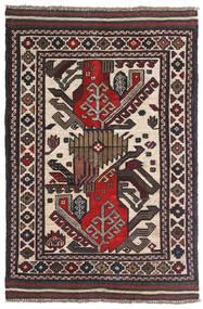 Kelim Golbarjasta Matto 90X140 Itämainen Käsinkudottu Tummanruskea/Tummanpunainen (Villa, Afganistan)