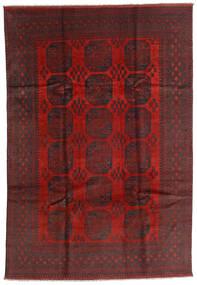 Afghan Matto 196X287 Itämainen Käsinsolmittu Tummanpunainen/Musta (Villa, Afganistan)