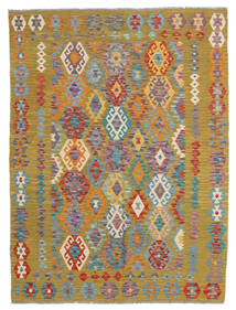 Kelim Afghan Old Style Matto 148X196 Itämainen Käsinkudottu Vaaleanruskea/Oliivinvihreä (Villa, Afganistan)
