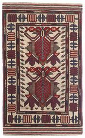 Kelim Golbarjasta Matto 85X142 Itämainen Käsinkudottu Tummanruskea/Tummanpunainen (Villa, Afganistan)