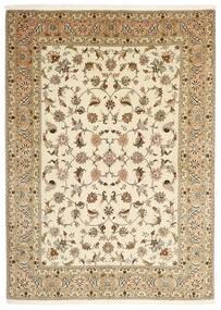 Tabriz 50 Raj Matto 147X206 Itämainen Käsinsolmittu Beige/Vaaleanruskea (Villa/Silkki, Persia/Iran)