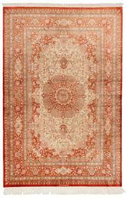 Ghom Silkki Matto 130X197 Itämainen Käsinsolmittu Vaaleanruskea/Punainen (Silkki, Persia/Iran)