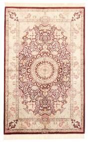 Ghom Silkki Matto 100X155 Itämainen Käsinsolmittu Vaaleanpunainen/Tummanruskea (Silkki, Persia/Iran)