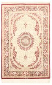 Ghom Silkki Matto 98X150 Itämainen Käsinsolmittu Beige/Tummanbeige (Silkki, Persia/Iran)