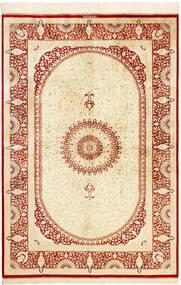Ghom Silkki Matto 134X197 Itämainen Käsinsolmittu Beige/Punainen (Silkki, Persia/Iran)