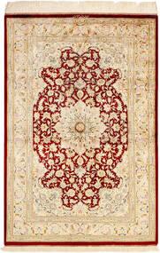 Ghom Silkki Matto 99X147 Itämainen Käsinsolmittu Beige/Tummanbeige (Silkki, Persia/Iran)