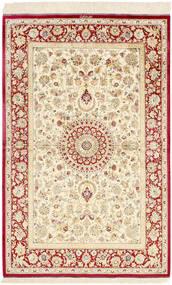 Ghom Silkki Matto 98X155 Itämainen Käsinsolmittu Beige/Tummanbeige (Silkki, Persia/Iran)