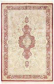 Ghom Silkki Matto 134X203 Itämainen Käsinsolmittu Beige/Vaaleanpunainen (Silkki, Persia/Iran)