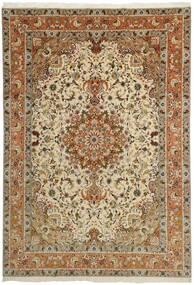 Tabriz 50 Raj Matto 253X358 Itämainen Käsinsolmittu Ruskea/Tummanbeige Isot (Villa/Silkki, Persia/Iran)