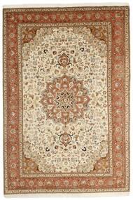 Tabriz 50 Raj Matto 202X305 Itämainen Käsinsolmittu Ruskea/Beige (Villa/Silkki, Persia/Iran)