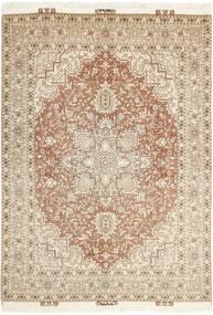 Tabriz 50 Raj Matto 148X214 Itämainen Käsinsolmittu Beige/Vaaleanharmaa (Villa/Silkki, Persia/Iran)