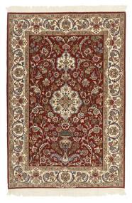 Isfahan Silkkiloimi Matto 112X165 Itämainen Käsinsolmittu Tummanruskea/Vaaleanruskea (Villa/Silkki, Persia/Iran)