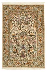 Isfahan Silkkiloimi Matto 115X170 Itämainen Käsinsolmittu Vaaleanruskea/Beige (Villa/Silkki, Persia/Iran)