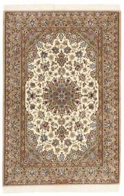 Isfahan Silkkiloimi Matto 108X166 Itämainen Käsinsolmittu Vaaleanruskea/Ruskea (Villa/Silkki, Persia/Iran)
