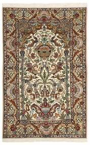 Isfahan Silkkiloimi Matto 130X202 Itämainen Käsinsolmittu Tummanruskea/Beige (Villa/Silkki, Persia/Iran)