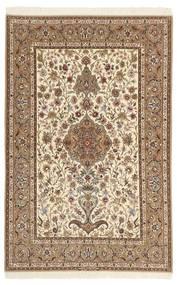 Isfahan Silkkiloimi Matto 130X205 Itämainen Käsinsolmittu Ruskea/Beige/Vaaleanruskea (Villa/Silkki, Persia/Iran)
