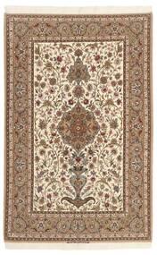 Isfahan Silkkiloimi Matto 130X200 Itämainen Käsinsolmittu Ruskea/Beige (Villa/Silkki, Persia/Iran)
