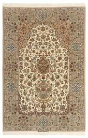 Isfahan Silkkiloimi Matto 130X200 Itämainen Käsinsolmittu Vaaleanruskea/Beige (Villa/Silkki, Persia/Iran)