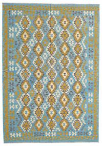 Kelim Afghan Old Style Matto 202X294 Itämainen Käsinkudottu Siniturkoosi/Tummanharmaa (Villa, Afganistan)